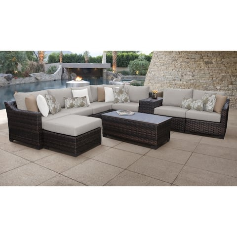 kathy ireland River Brook 10 Piece Outdoor Wicker Patio Furniture Set 10b