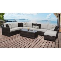 kathy ireland River Brook 9 Piece Outdoor Wicker Patio Furniture Set 09d