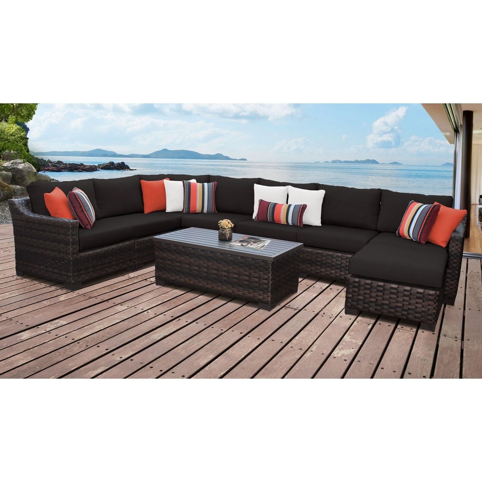 Kathy Ireland River Brook 9 Piece Outdoor Wicker Patio Furniture Set 09d Overstock 27613082