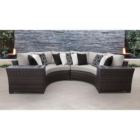 kathy ireland River Brook 4 Piece Outdoor Wicker Patio Furniture Set 04a