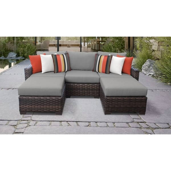Kathy Ireland River Brook 5 Piece Outdoor Wicker Patio Furniture Set 05e Overstock 27615224