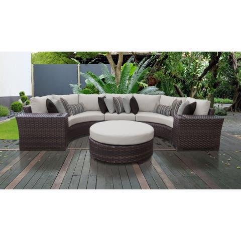 kathy ireland River Brook 6 Piece Outdoor Wicker Patio Furniture Set 06c