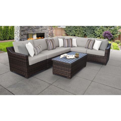 kathy ireland River Brook 7 Piece Outdoor Wicker Patio Furniture Set 07b