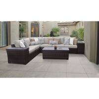 kathy ireland River Brook 9 Piece Outdoor Wicker Patio Furniture Set 09a