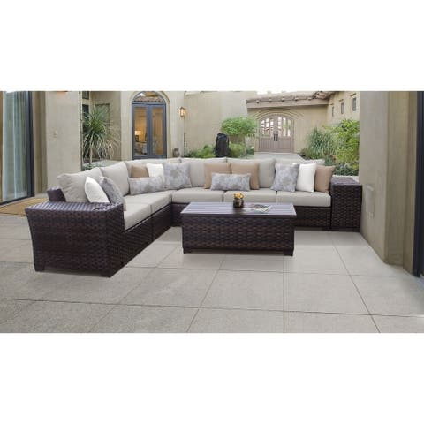kathy ireland River Brook 9 Piece Outdoor Wicker Patio Furniture Set 09a