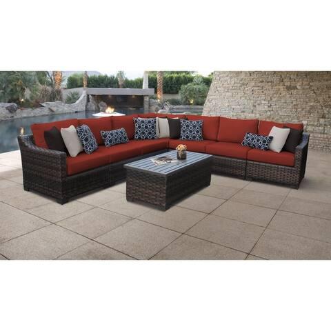 kathy ireland River Brook 8 Piece Outdoor Wicker Patio Furniture Set 08a