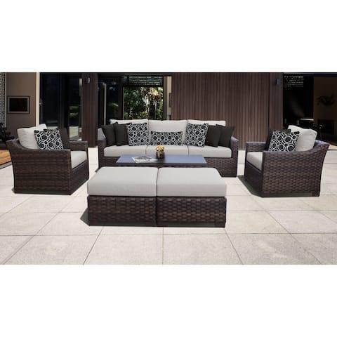 kathy ireland River Brook 8 Piece Outdoor Wicker Patio Furniture Set 08c