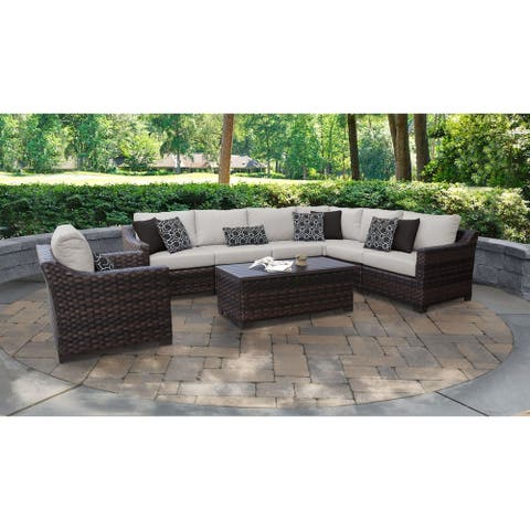 kathy ireland River Brook 8 Piece Outdoor Wicker Patio Furniture Set 08d