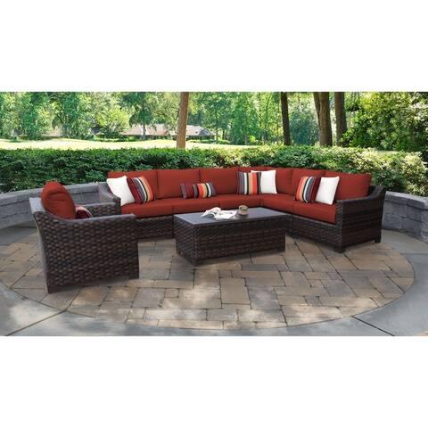 kathy ireland River Brook 8 Piece Outdoor Wicker Patio Furniture Set 08d