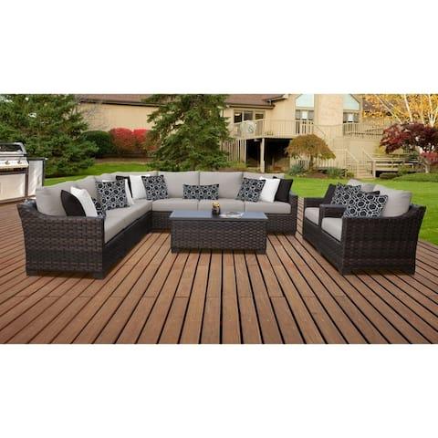 kathy ireland River Brook 10 Piece Outdoor Wicker Patio Furniture Set 10a