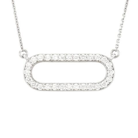 """The Racetrack"" Open Oval Diamond Necklace in 14 Karat Gold"
