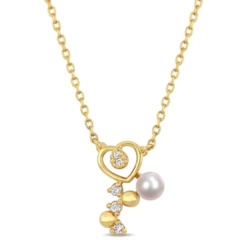 Miadora 10k Yellow Gold Cultured FW Pearl and Diamond Heart Drop Necklace (3-4 mm)