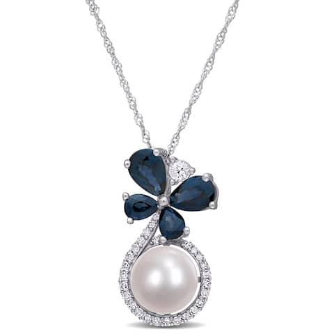 Miadora 10k White Gold Cultured FW Pearl Blue White Sapphire 1/8ct TDW Diamond Butterfly Necklace (7.5-8 MM)