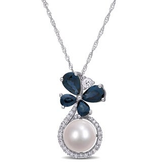 Miadora 10k White Gold Cultured FW Pearl Blue White Sapphire 1 8ct TDW Diamond Butterfly Necklace 7 5 8 MM