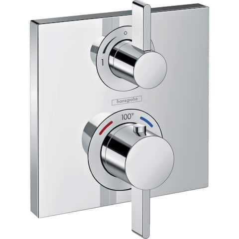 Hansgrohe (15714001) Ecostat Chrome Square Thermostatic Trim with Volume Control and Diverter