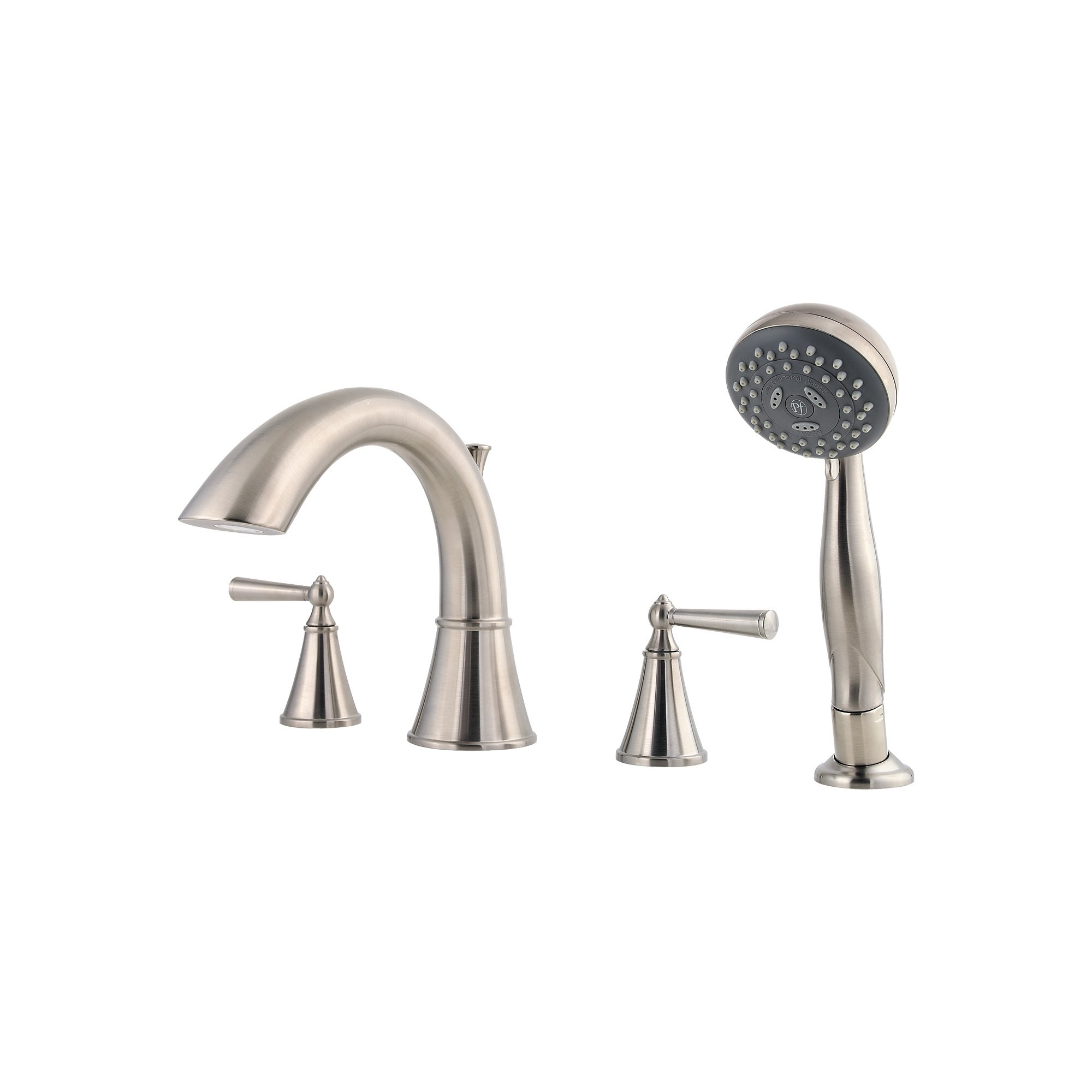 Shop Pfister Saxton Lg6 4glk Brushed Nickel 2 Handle Complete Roman Tub Trim With Handheld Shower Overstock 27615815