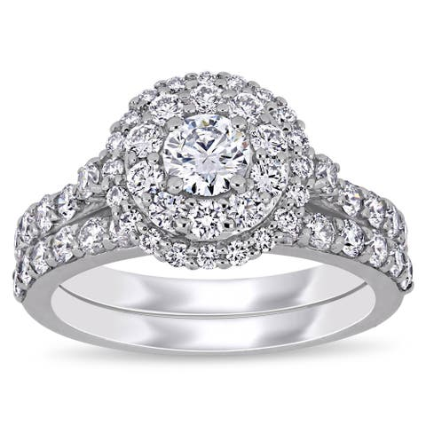 Eternally Yours 1 3/4ct TW Lab Created Diamond Double Halo Bridal Ring Set in 14k White Gold