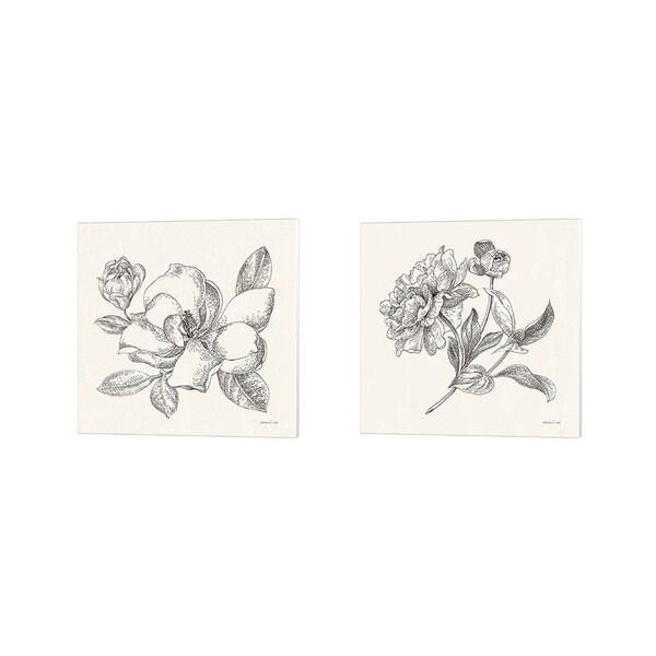 Danhui Nai 'Flower Sketches' Canvas Art (Set of 2)