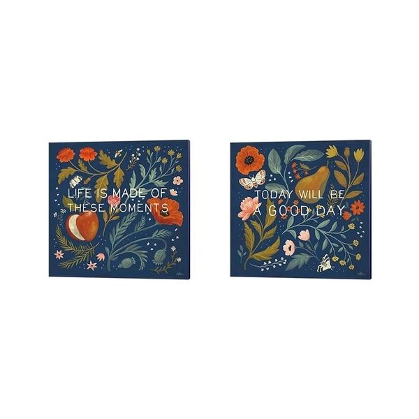 Janelle Penner 'Blue Botanical A' Canvas Art (Set of 2)