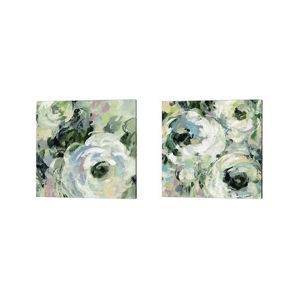 Silvia Vassileva 'Sage and Lavender Peonies' Canvas Art (Set of 2)