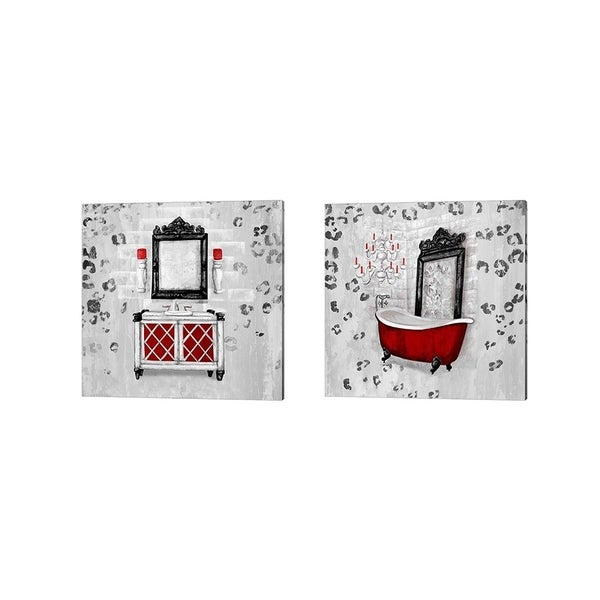 Tiffany Hakimipour 'Red Antique Mirrored Bath Square' Canvas Art (Set of 2)