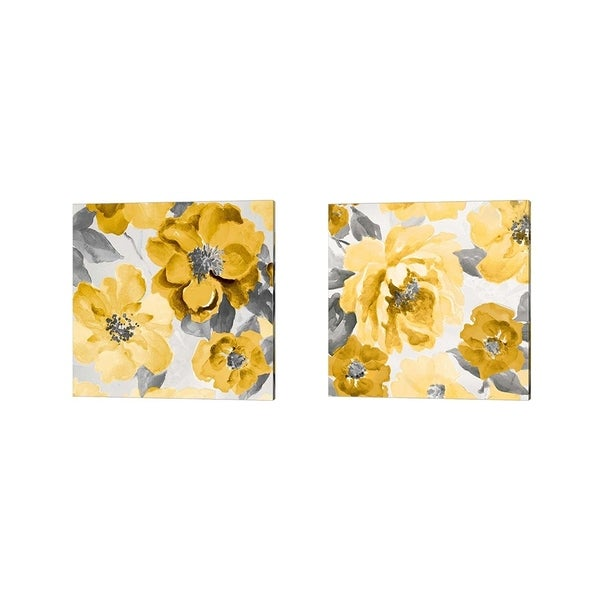 Lanie Loreth 'Yellow and Gray Floral Delicate' Canvas Art (Set of 2)