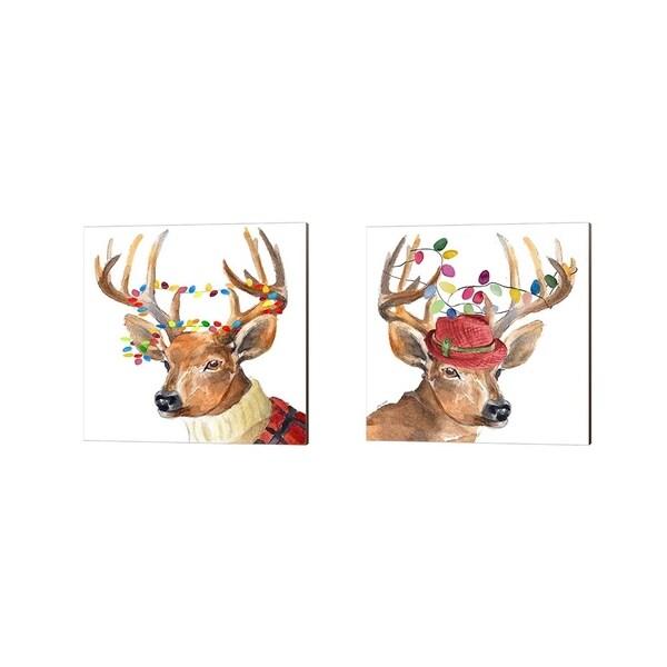Lanie Loreth 'Christmas Lights Reindeer Sweater & Hat' Canvas Art (Set of 2)