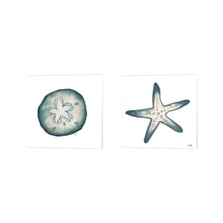 Elizabeth Medley 'Coastal Icon (blue) A' Canvas Art (Set of 2)