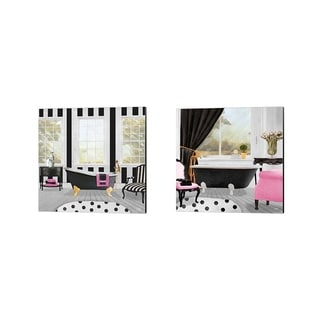 Elizabeth Medley 'Pop of Pink Bath' Canvas Art (Set of 2)