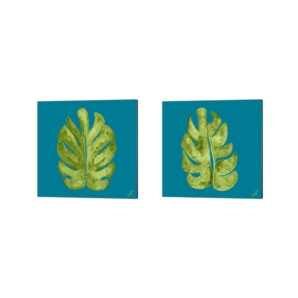 Porch & Den Kat Papa 'Leaf On Teal' Canvas Art (Set of 2)