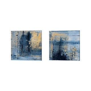 Patricia Pinto 'Gold on Blue Square' Canvas Art (Set of 2)