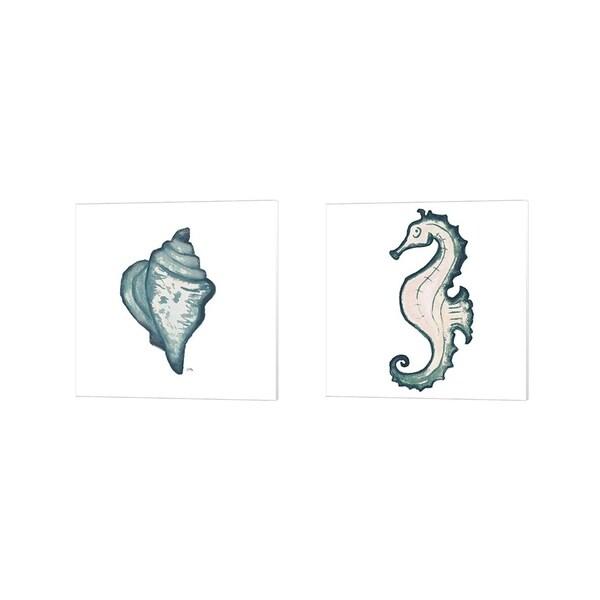 Elizabeth Medley 'Coastal Icon (blue) C' Canvas Art (Set of 2)