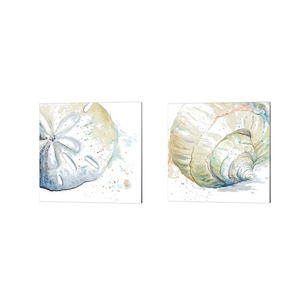 Patricia Pinto 'Water Sand Dollar & Conch' Canvas Art (Set of 2)