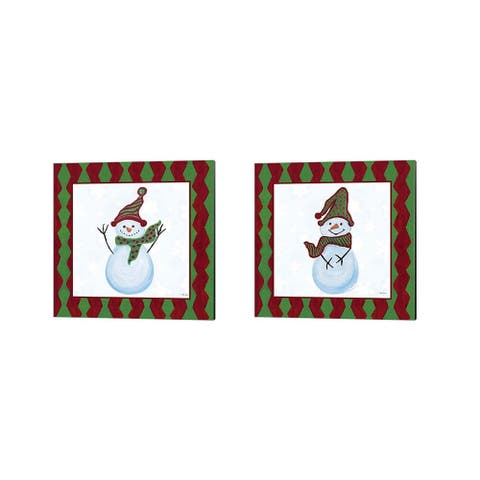 Gina Ritter 'Snowman Zig Zag Square' Canvas Art (Set of 2)