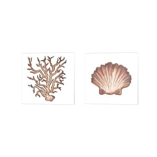 Elizabeth Medley 'Coastal Icon Coral B' Canvas Art (Set of 2)