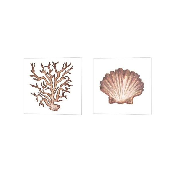 Elizabeth Medley 'Coastal Icon Coral B' Canvas Art (Set of 2)