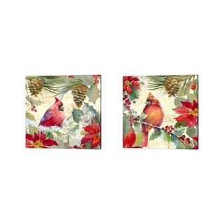 Lanie Loreth 'Cardinal and Pinecones' Canvas Art (Set of 2)