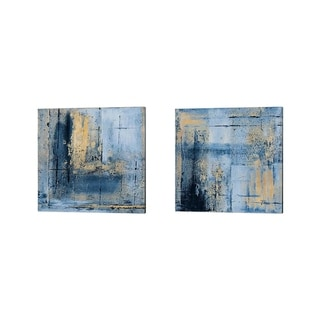 Patricia Pinto 'Golden Blues' Canvas Art (Set of 2)