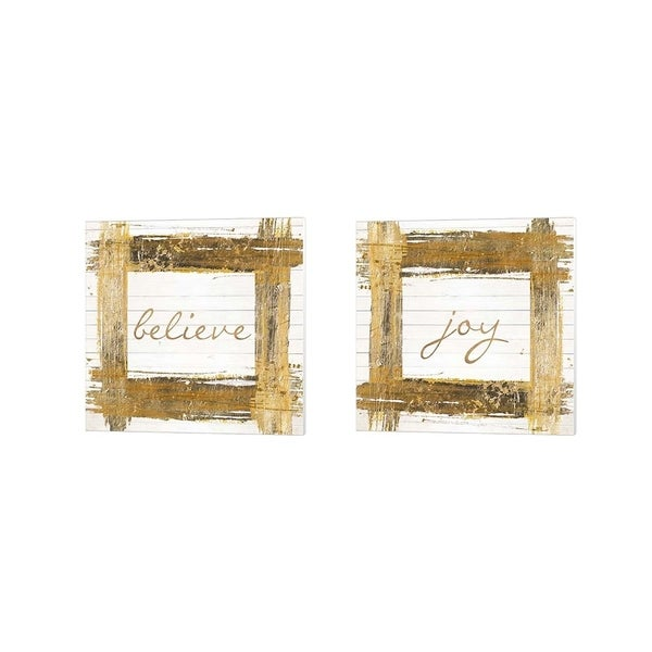 Patricia Pinto 'Gold Believe & Joy Square' Canvas Art (Set of 2)