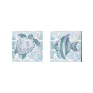 Elizabeth Medley 'Azure Sea Creatures' Canvas Art (Set of 2)