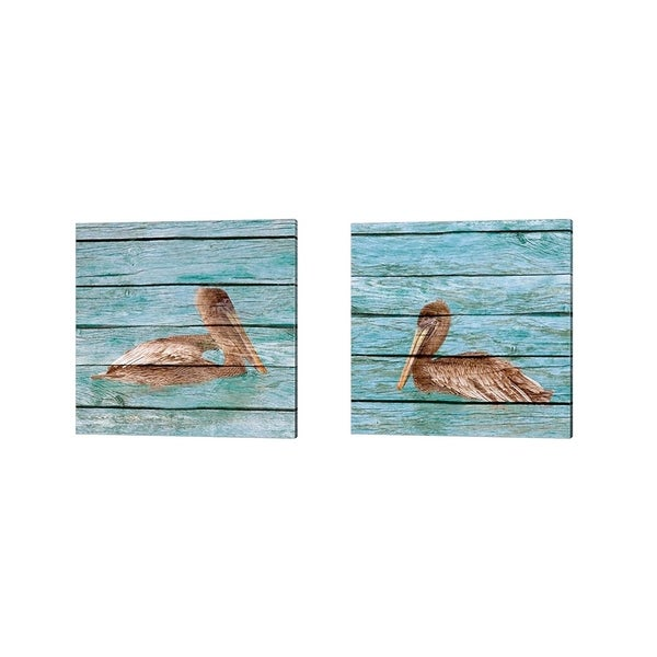 Kathy Mansfield 'Wood Pelican' Canvas Art (Set of 2)