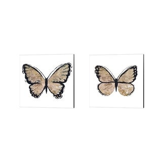 Elizabeth Medley 'Flutter Gold' Canvas Art (Set of 2)