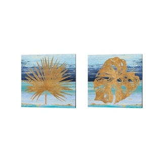 Porch & Den Patricia Pinto 'Gold and Teal Leaf Palm' Canvas Art (Set of 2)