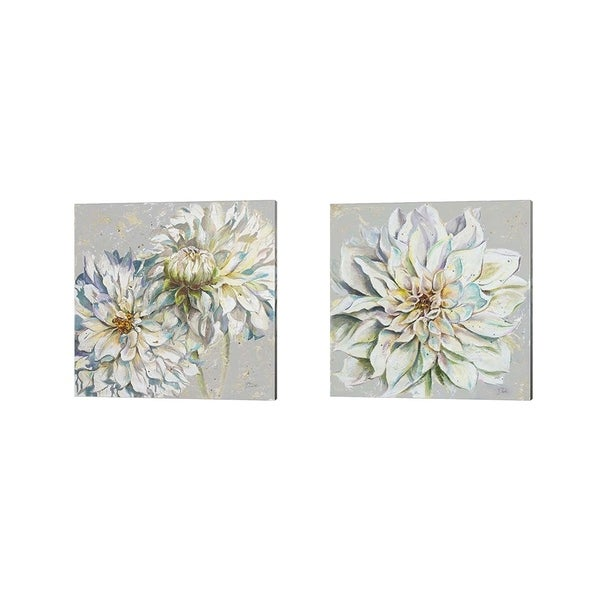 Patricia Pinto 'Grey Dahlias' Canvas Art (Set of 2)