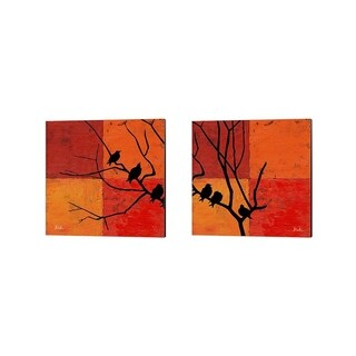 Patricia Pinto 'Three Birdies' Canvas Art (Set of 2)