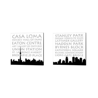 Anna Quach 'Toronto & Vancouver Skyline Square' Canvas Art (Set of 2)