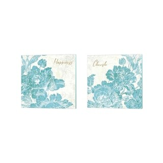 Sue Schlabach 'Toile Roses Teal ' Canvas Art (Set of 2)