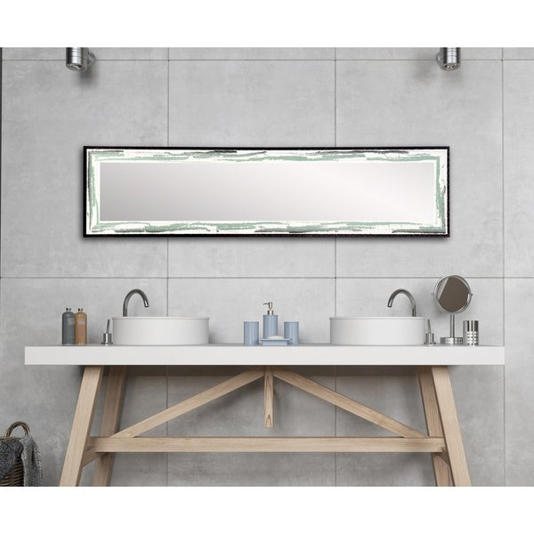 Industrial Sage Slim Full Length Mirror - Green/Brown/White