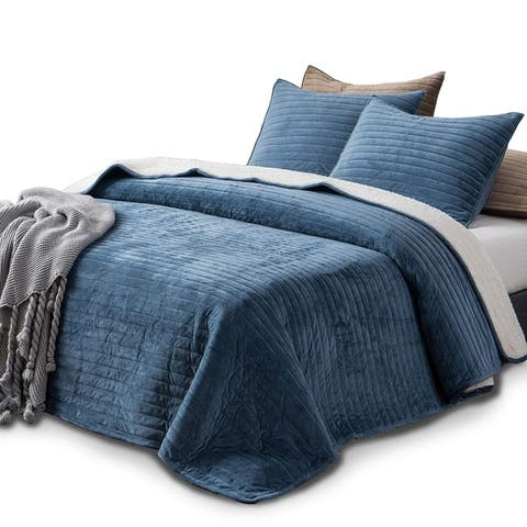 Kasentex Plush Poly Quilt Set Reversible Shu Velveteen Sherpa Machine Washable