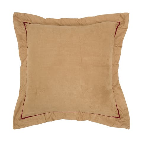 Tan Faux Suede/Red Polyester Euro Sham